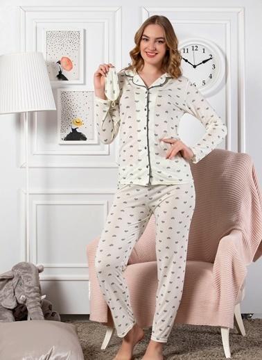Elitol Önden Düğmeli Uzun Kol Pijama Takım Renkli
